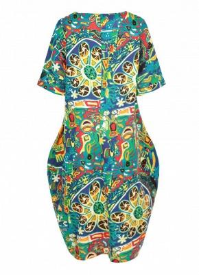 Бохо хлопок граффити печати платье с коротким рукавом льняные карманы Midi платье_3