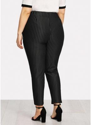 Plus Size Striped Print Hohe Taille Tasche OL Hosen_6