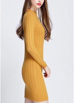 O-Neck Long Sleeves Stretchy Elegant Slim Women's Knitted Dress_5