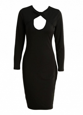 Sexy Cut Out V Neck Long Sleeve Bodycon Midi Dress_3