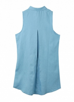 Summer ChicTurn-Down Collar Sleeveless Button Mini Shirt Denim Dress_3