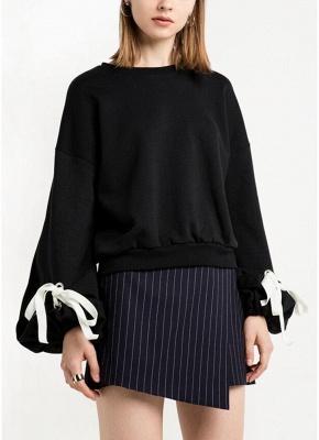 Women Loose Fleece Lace Up Bandage Cuff Round Neck Long Sleeve Casual Sweatershirt_1