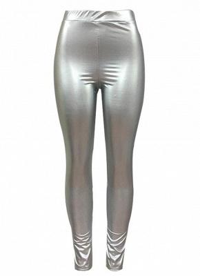 Shiny Metallic Color Elastic Waist Skinny Sexy Pencil Pants_6