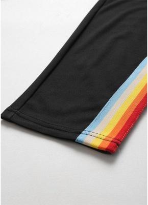 Plus Size Bunte Streifen Hohe Taille Tasche Slim Strumpfhosen Leggings_6
