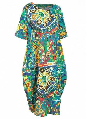 Бохо хлопок граффити печати платье с коротким рукавом льняные карманы Midi платье_4