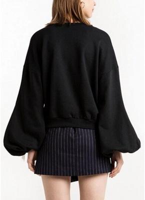 Women Loose Fleece Lace Up Bandage Cuff Round Neck Long Sleeve Casual Sweatershirt_3