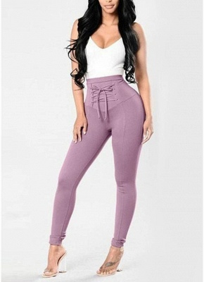 Lace Up Skinny Pants High Waist Pencil Pants Solid Slim Trousers_2
