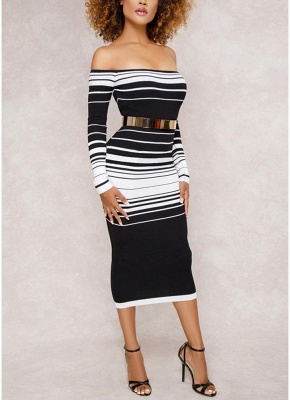 Striped Off The Shoulder Long Sleeve Party Club Tube Midi Dress_3