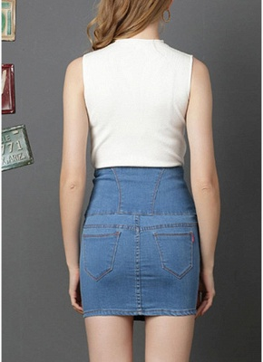 Denim High Waist Embroidery Button Solid Slim Bodycon Mini Skirt_8