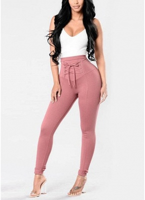 Lace Up Skinny Pants High Waist Pencil Pants Solid Slim Trousers_1