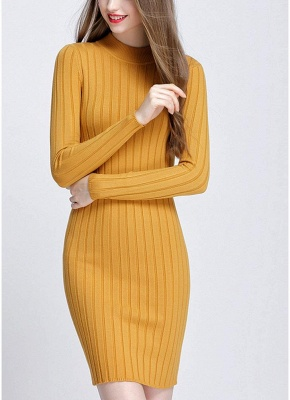 O-Neck Long Sleeves Stretchy Elegant Slim Women's Knitted Dress_4