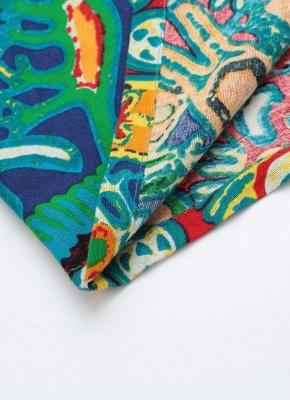 Бохо хлопок граффити печати платье с коротким рукавом льняные карманы Midi платье_5