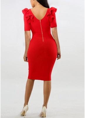 Ruffle Short Sleeve O Neck Back Zipper Bodycon Dress_6