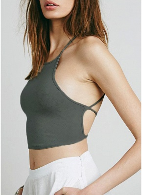 Sexy Solid Color Lace Up Backless Halter Crop Cami Bralette_5