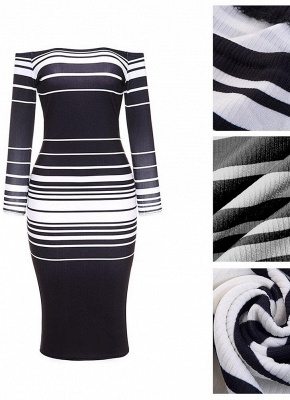 Striped Off The Shoulder Long Sleeve Party Club Tube Midi Dress_8