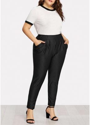 Plus Size Striped Print Hohe Taille Tasche OL Hosen_4