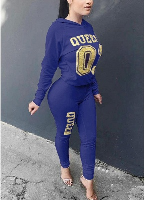 Women Tracksuit Set Letter Print Hoodie & Pants Sweat Suits Casual Two Piece_3