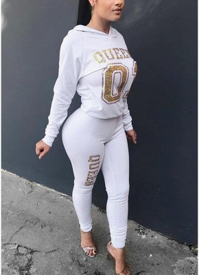 Women Tracksuit Set Letter Print Hoodie & Pants Sweat Suits Casual Two Piece_1