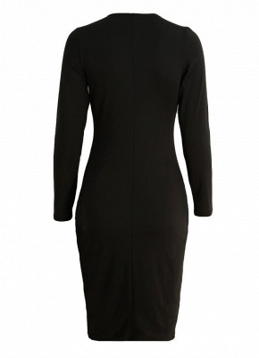 Sexy Cut Out V Neck Long Sleeve Bodycon Midi Dress_7