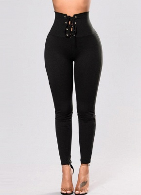 Women Pencil Pants Tights Casual High Waist Skinny Trousers Stretch Leggings_2