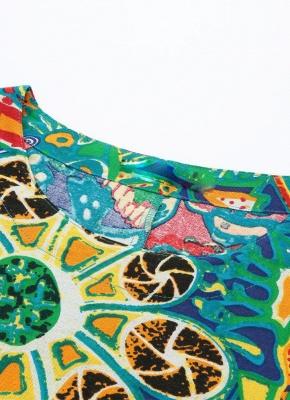 Бохо хлопок граффити печати платье с коротким рукавом льняные карманы Midi платье_6