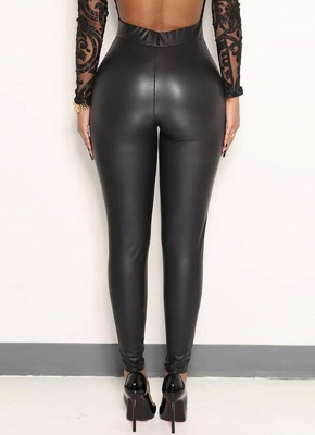 Sexy Women Pu Wet Look Faux Leather Stretchy Leggings Elastic Waist High Rise Skinny Pants_3
