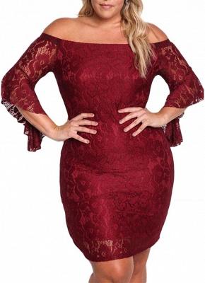 Lace Dress Plus Size Off Shoulder Bodycon Mini Dress Oversize Party Clubwear_1