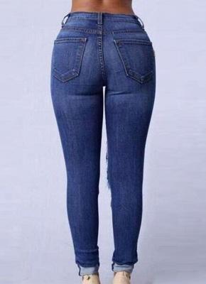 Ripped Jeans High Waist Holes Функциональные карманы Уничтоженные тощие джинсы_4