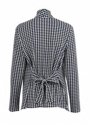 Femmes Cardigan à carreaux pied-de-poule Manteau Manches longues Ouverture avant Ceinture Strap Asymétrique Casual Tops Outwear_4