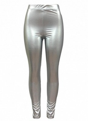 Shiny Metallic Color Elastic Waist Skinny Sexy Pencil Pants_6