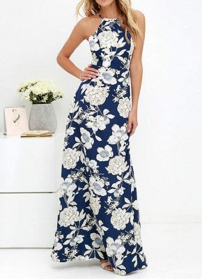 Sommer-Neckholder-Blumendruck-Sleeveless Maxi-Kleid der Frauen_5