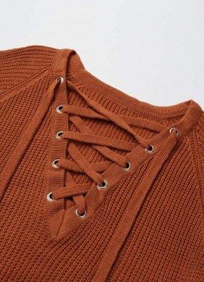 Col rayé bandage croix cravate pull tricoté_7