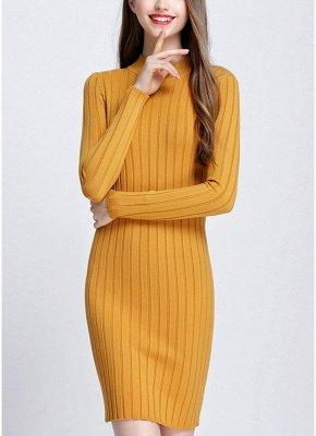 O-Neck Long Sleeves Stretchy Elegant Slim Women's Knitted Dress_2
