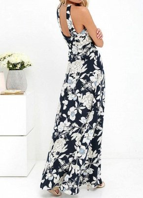 Sommer-Neckholder-Blumendruck-Sleeveless Maxi-Kleid der Frauen_4