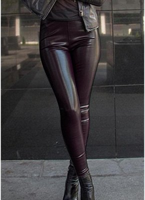 Shiny Metallic Color Elastic Waist Skinny Sexy Pencil Pants_3