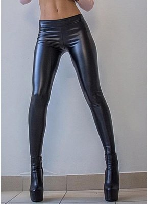 Shiny Metallic Color Elastic Waist Skinny Sexy Pencil Pants_5