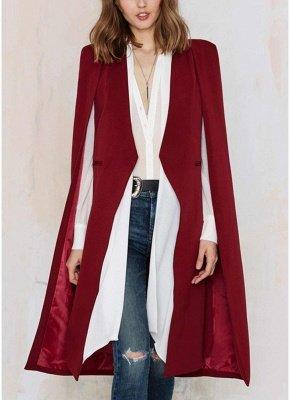 Automne Femmes Manteau Long Blazer Manteau Cape Cardigan Veste Bureau Slim OL Costume Casual Solide_1