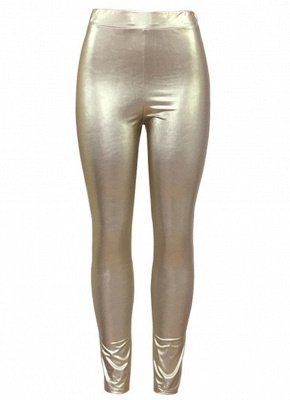 Shiny Metallic Color Elastic Waist Skinny Sexy Pencil Pants_2