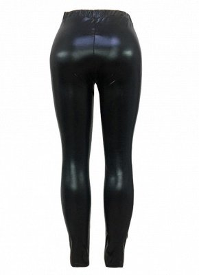 Shiny Metallic Color Elastic Waist Skinny Sexy Pencil Pants_10