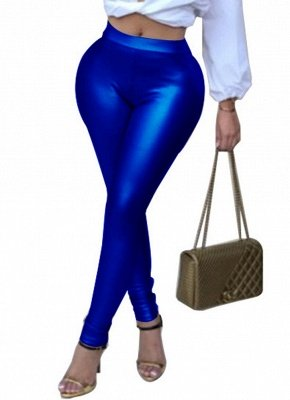Shiny Metallic Color Elastic Waist Skinny Sexy Pencil Pants_4