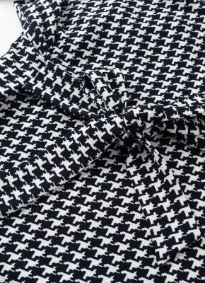 Femmes Cardigan à carreaux pied-de-poule Manteau Manches longues Ouverture avant Ceinture Strap Asymétrique Casual Tops Outwear_5