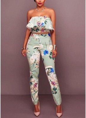 Plissado de impressão floral fora o ombro Backless moda feminina conjunto de duas peças_2