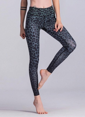 Women Sports Yoga Leggings Leopard Print Stretchy Skinny Bodycon Pants Tights Trousers_2