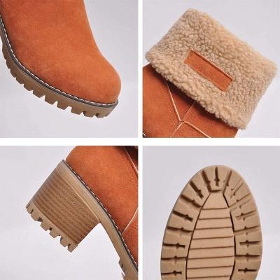 Nubuck Chunky Heel Slip-On Round Toe Boots_23