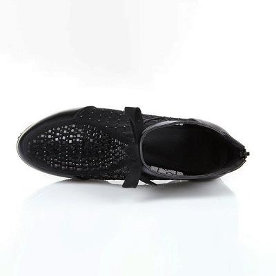 Bottes noires décontractées en maille bowknot à talons chunky_3
