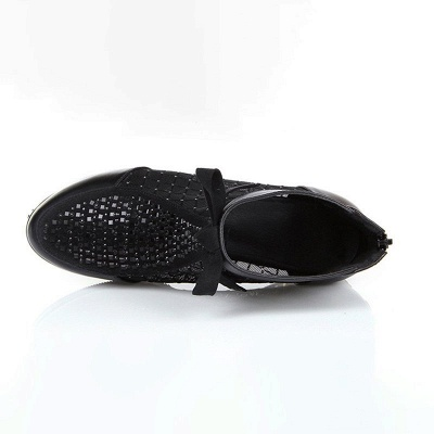 Black Chunky Heel Bowknot Casual Mesh Boots_3