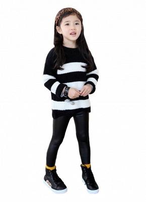 Crianças Meninas Stretchy PU Couro Elástico Na Cintura Calças Skinny Calças Pretas_3