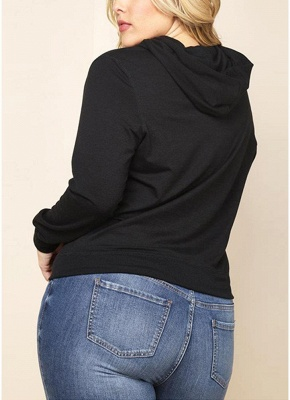 Women Plus Size Sweatshirt Solid Hooded Drawstring Pocket Long Sleeve Casual Oversized Pullover_4
