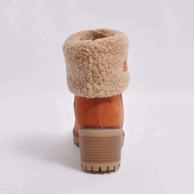 Nubuck Chunky Heel Slip-On Round Toe Boots_16