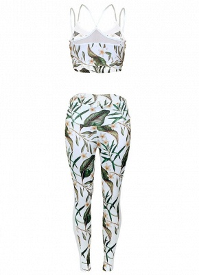 Fashion Women Gym Fitness Top Leggings Suit Floral Leaf Print Mesh Running Sports Yoga Workout Tracksuit_3